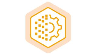 orange hexagon icon containing a pile of CVs